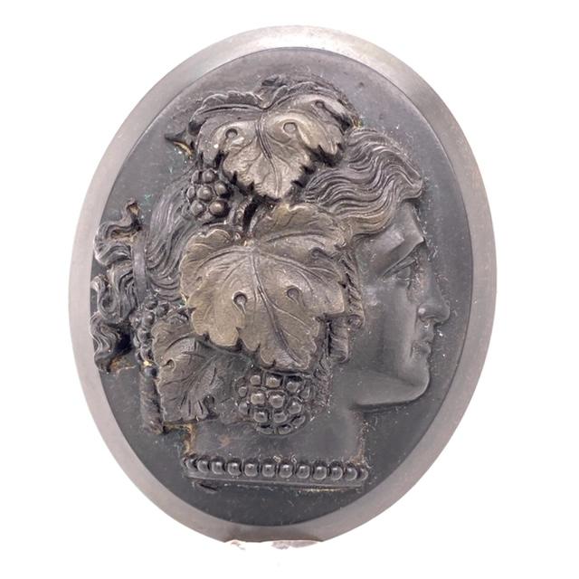 Vulcanite cameo brooch