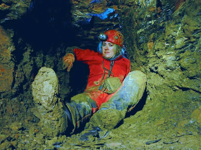 Sarah Caldwell Steele in a Whitby Jet mine